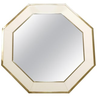 Octagon Shaped j.c. Mahey Mirror in White Lacquer and Brass, 1970 For Sale