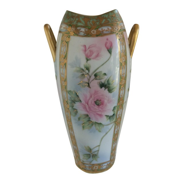 Large Art Nouveau Japanese Vase With Peony Design Nippon Style By