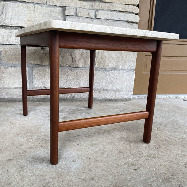 1950s Danish Modern Dux Folke Ohlsson Travertine Top Tables - a Pair For Sale - Image 10 of 12