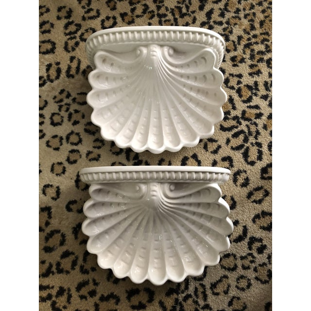 1960s Italian Shell Cartouche Wall Brackets - a Pair For Sale - Image 5 of 5