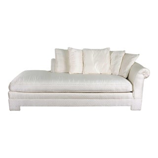 White Art Deco Hollywood Regency Chaise With Loose Pillows & Rolled Arm & Back For Sale
