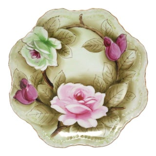 Vintage Hand-Painted Roses Porcelain Plate by Lefton's Japan For Sale