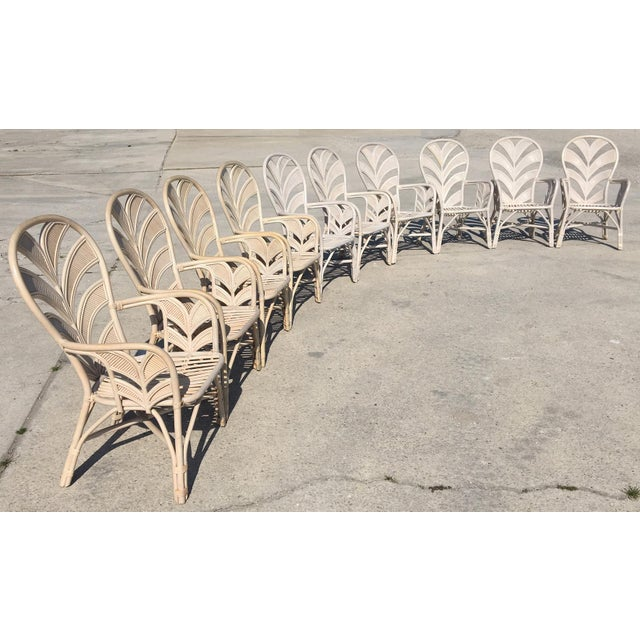 Mid Century Rattan Palm Tree Back Chair - 10 Available For Sale - Image 11 of 12