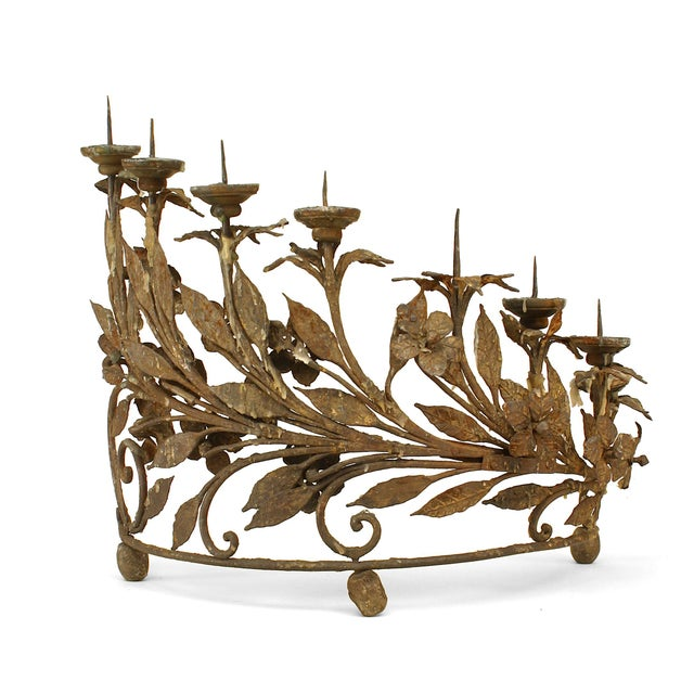 Mid 19th Century Pair of Italian Renaissance Style Wrought Iron Candelabra For Sale - Image 5 of 6
