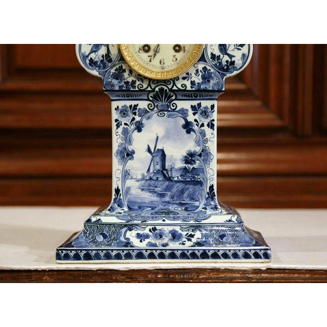 Ceramic Early 20th Century Dutch Hand-Painted Blue and White Faience Delft Mantel Clock For Sale - Image 7 of 13