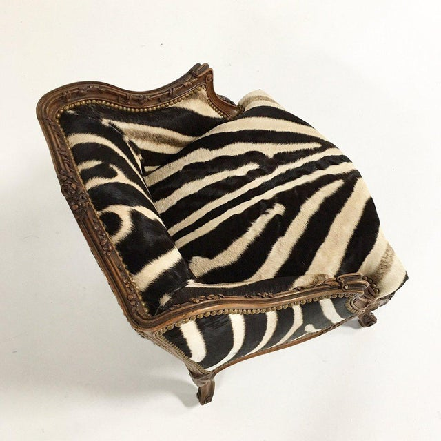 Vintage Carved Chair in Zebra Hide - Image 9 of 11