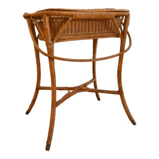 19th Century Country Heywood Wakefield Wicker Sewing Table Basket For Sale