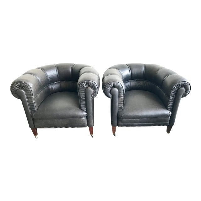 1920s Antique Black Leather Club Chairs- A Pair For Sale