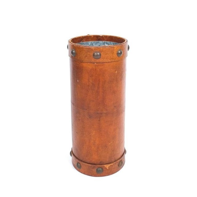 Leather Umbrella Stand with Brass Knobs, France, circa 1950 For Sale - Image 4 of 4