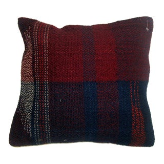 Plaid Rag Rug Pillow For Sale