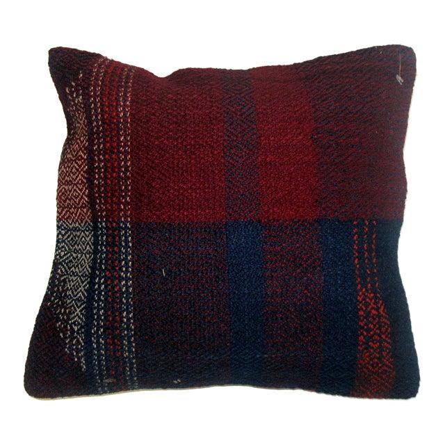 Plaid Rag Rug Pillow For Sale