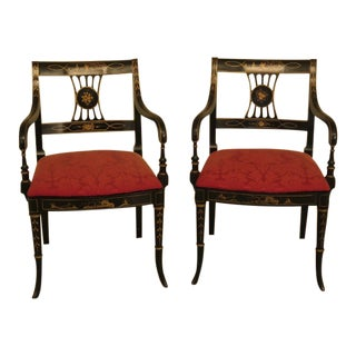 1980's Vintage Chinoiserie Decorated Open Arm Chairs- A Pair