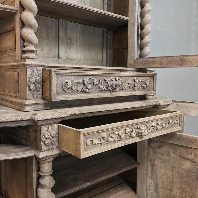 19th Century Renaissance Stripped Oak Hunt Bookcase For Sale - Image 4 of 13