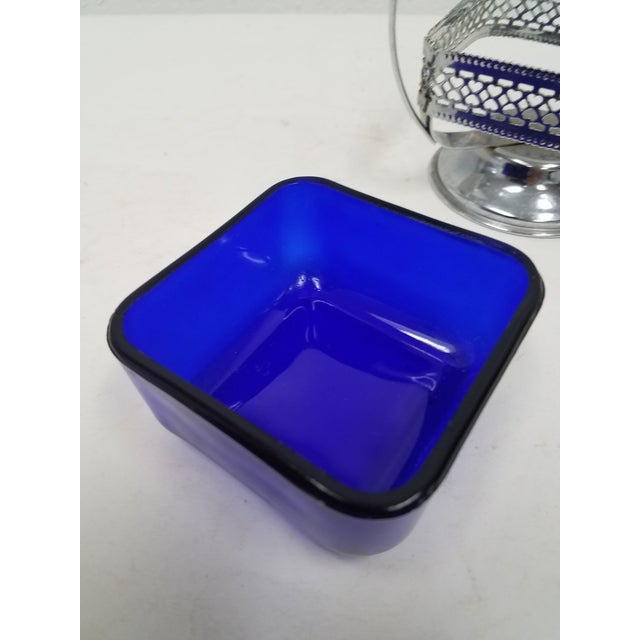 Antique English Cobalt Blue Silver Plate Condiment Server For Sale - Image 4 of 9