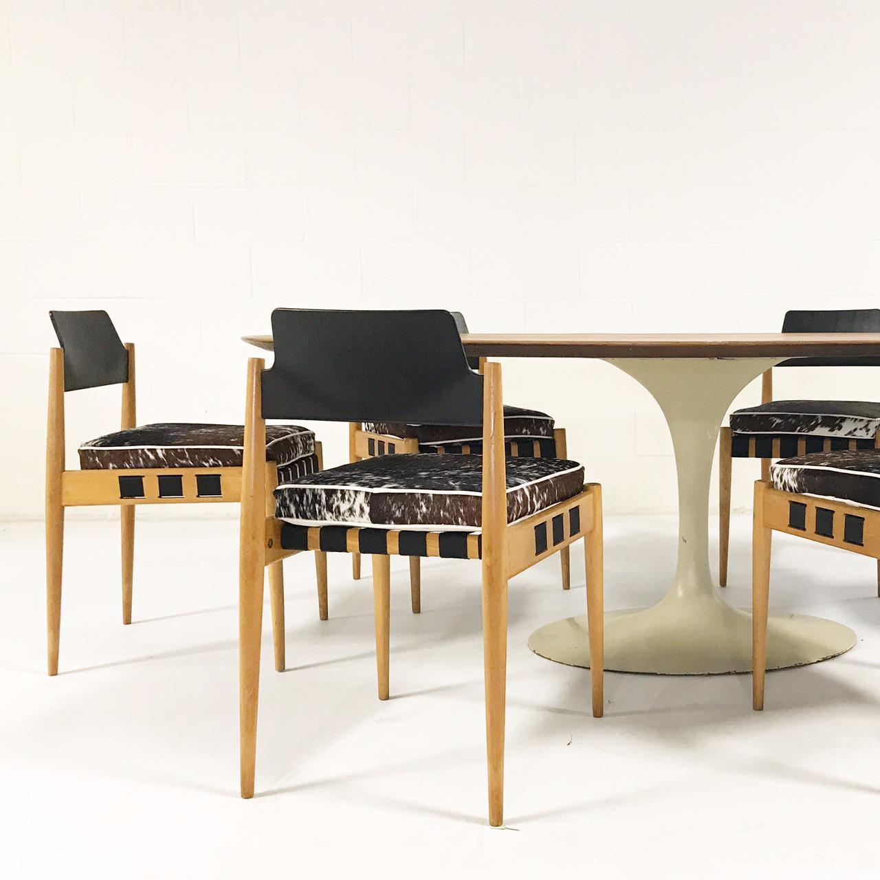Vintage Eero Saarinen Tulip Table And Egon Eiermann Dining Chairs   Image 3  Of 11