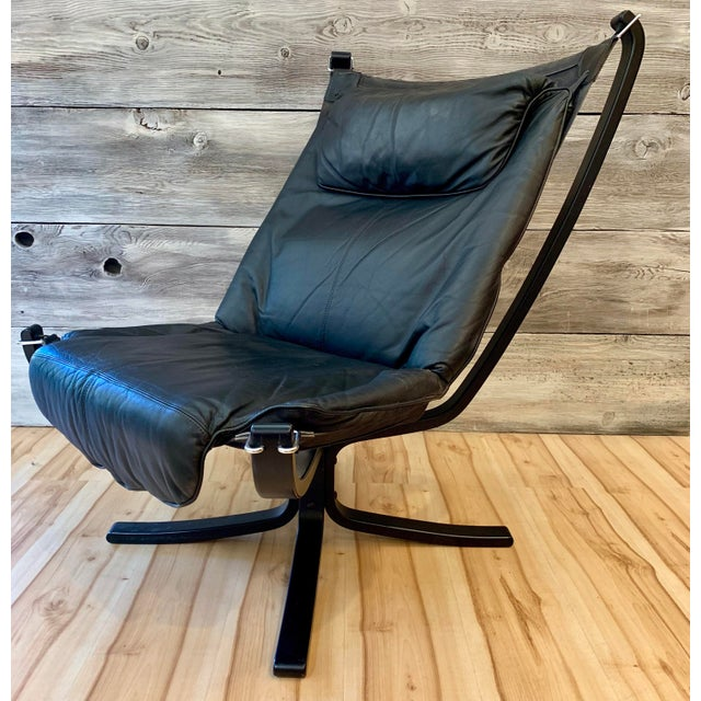 """Pair of 1960s Sigurd Ressell highback """"Falcon"""" lounge chairs, manufactured by Vatne Møbler, Norway. The chairs are..."""