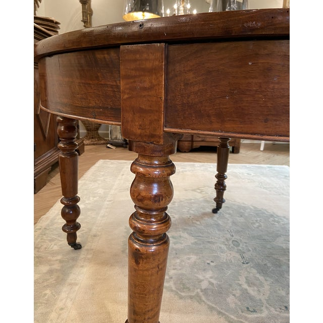 19th Century French Walnut Demilune Table With Turned Legs on Casters For Sale - Image 10 of 11