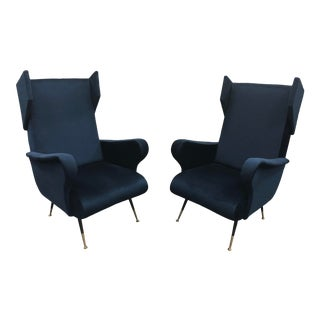 Mid Century Italian Wing Chairs by Marco Zanuso For Sale