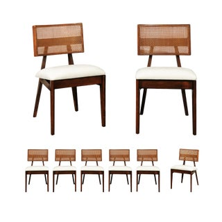 Coveted Restored Set of Eight Cane Dining Chairs by George Nelson, circa 1949 For Sale