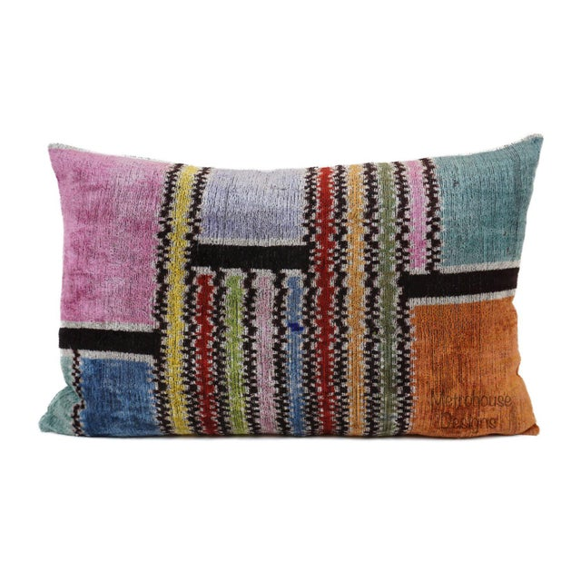 Contemporary Silk Velvet Down Feather Lumbar Pillow For Sale - Image 3 of 3