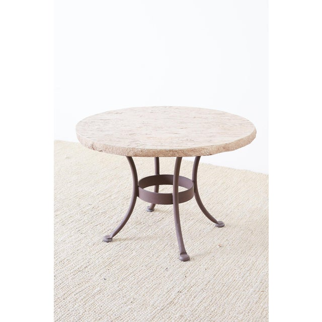 Modern Pair of o.w. Lee Faux-Stone Patio Garden Drink Tables For Sale - Image 3 of 13