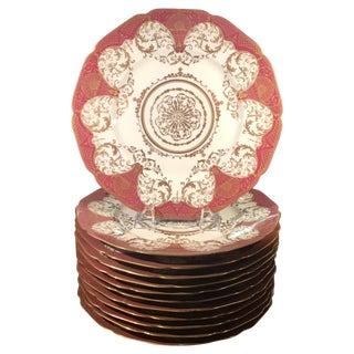 Gilt Decorated Service Dinner Plates - Set of 12 For Sale