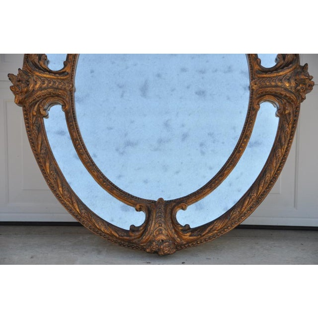1990s Ornate Napoleon III Style Antiqued Oval Mirror For Sale - Image 5 of 8