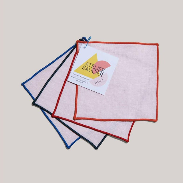 American ATELIER SAUCIER Americana Stripe Cocktail Napkins - Set of 4 For Sale - Image 3 of 4