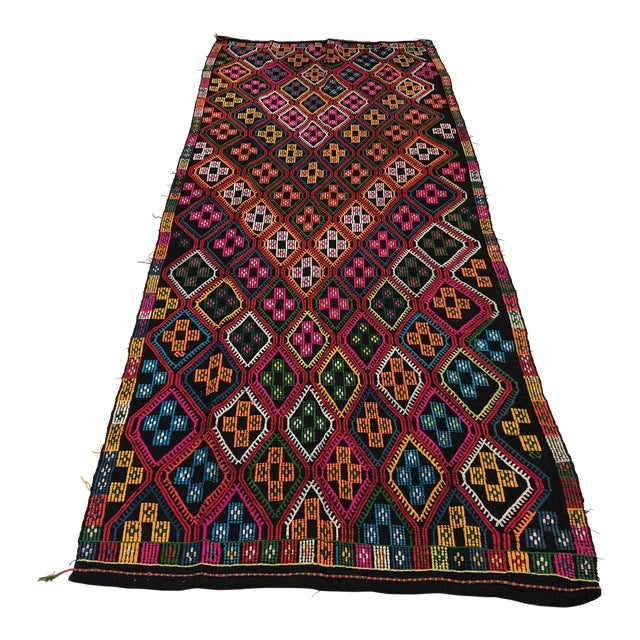 1960s Vintage Naturel Wool Turkish Kilim Rug- 3′10″ × 9′8″ For Sale