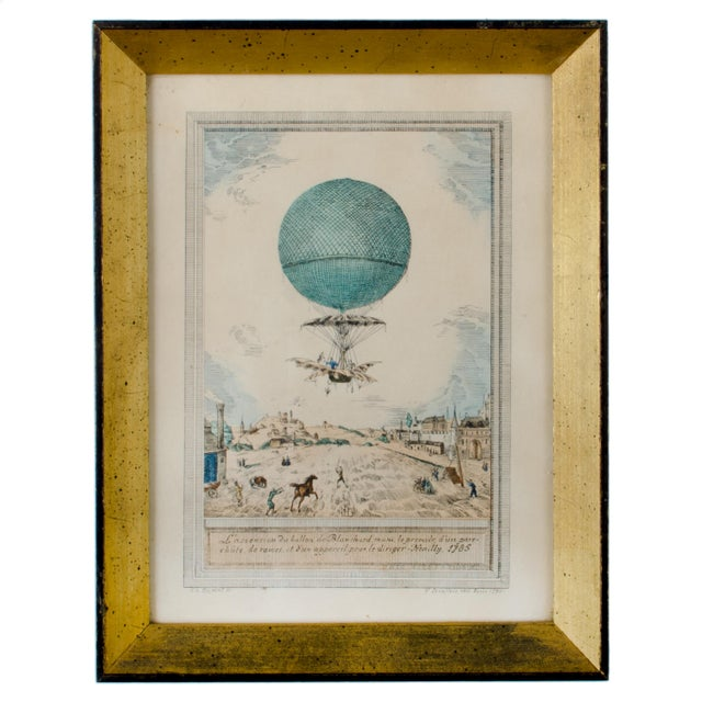 Offered is a Charles Dupont hot air balloon hand-colored lithograph printed in 1790. Framed in a deeply set gilt frame...