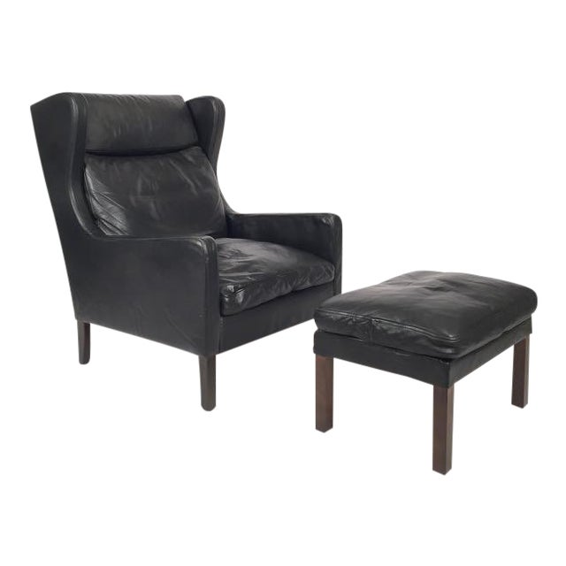 Vintage Danish Black Leather High Back Chair & Ottoman - Image 1 of 5