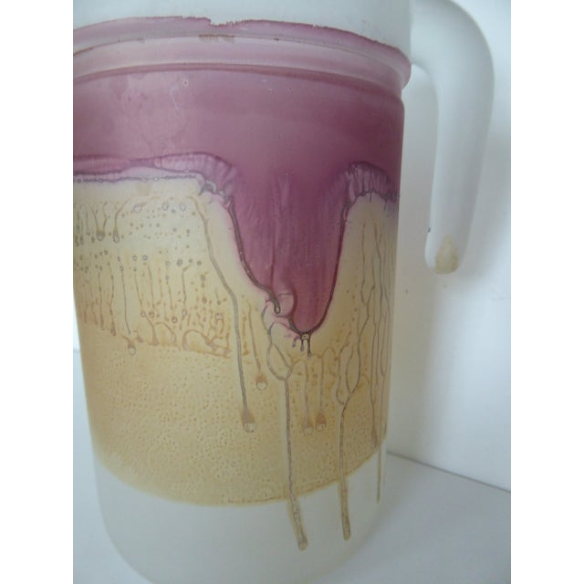 1980's Reuven Nouveau Hand Painted Art Glass Pitcher and Glasses - 6 Pc. For Sale - Image 4 of 11
