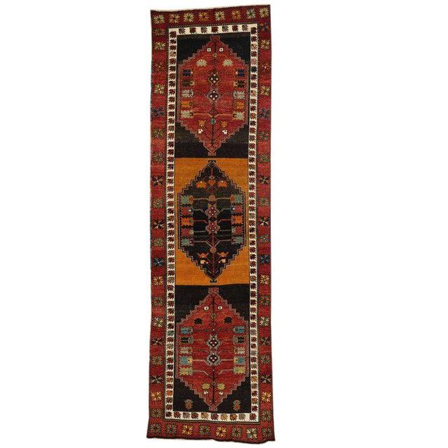 Vintage Turkish Oushak Runner with Modern Tribal Style, Hallway Runner For Sale
