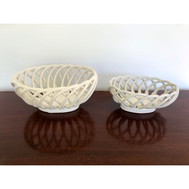 Vintage white open basket weave ceramic decorative nesting bowls. Lovely on your kitchen island filled with fruit or on...