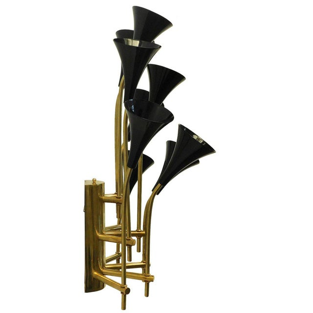 Italian Pair of Black Trumpets Sconces by Fabio Ltd For Sale - Image 3 of 6