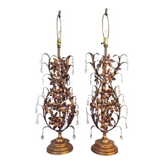 Mid 20th Century Hollywood Regency Tall Gold Gilded & Crystal Table Lamps - a Pair For Sale