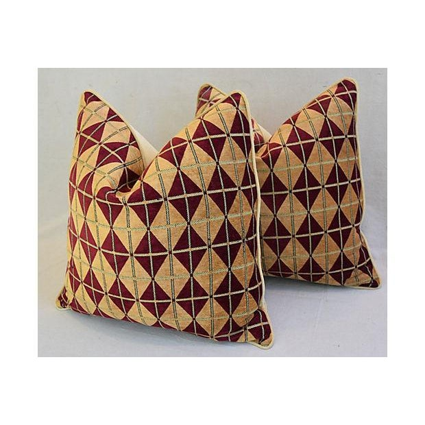 """Diamond Chenille & Velvet Feather/Down Pillows 24"""" Square - Pair For Sale In Los Angeles - Image 6 of 14"""