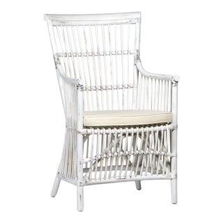 White Rattan Dining Arm Chair For Sale