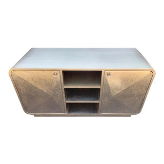 Italian Metal Wrapped Sideboard Credenza For Sale