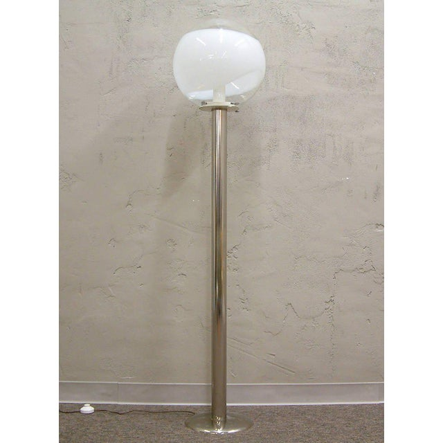 Contemporary 1960s Mazzega Style Tubular Chrome and Murano Glass Floor Lamp For Sale - Image 3 of 9
