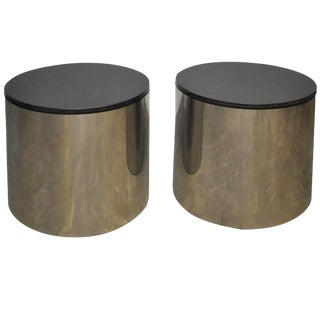 Paul Mayan Stainless and Black Granite Side Tables For Sale