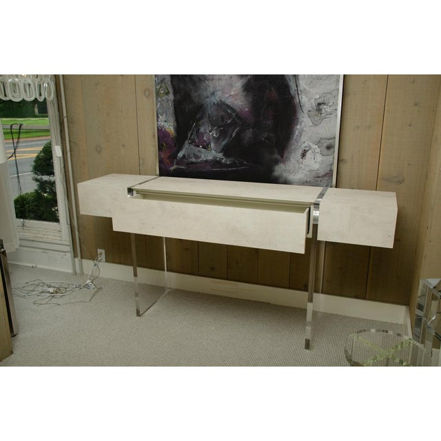Tan Contemporary 1 Drawer Console With Lucite Legs For Sale - Image 8 of 10
