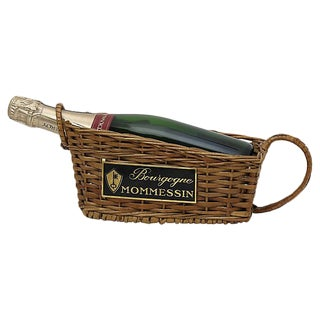 French Bistro Wicker Wine Basket For Sale