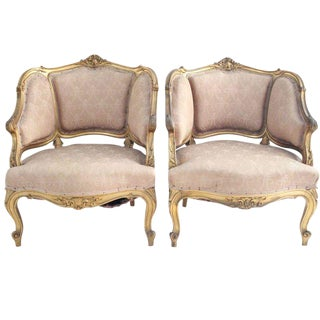 19th Century French Louis XV Bergeres - A Pair For Sale