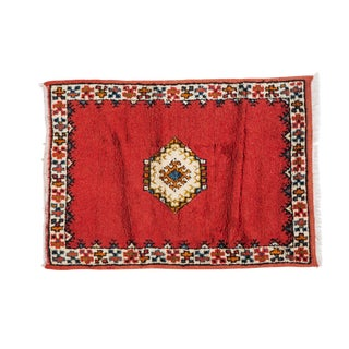 Berber Rug - Diamond on Deep Red Background Handwoven For Sale