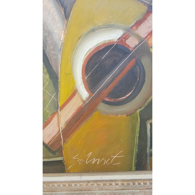 oil on panel representing a still life on guitar in a cubist style signed Shmit