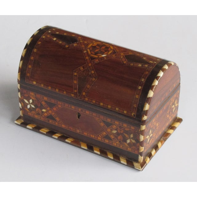 Wood A Well-Crafted and Richly-Patinated Syrian Inlaid Trinket Box With Domed Lid For Sale - Image 7 of 7