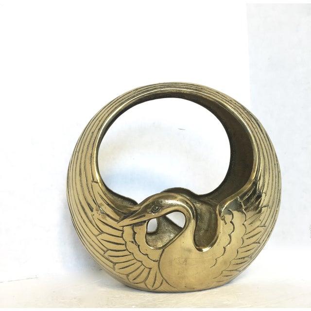 Art Deco Style Brass Swan Basket - Image 4 of 6