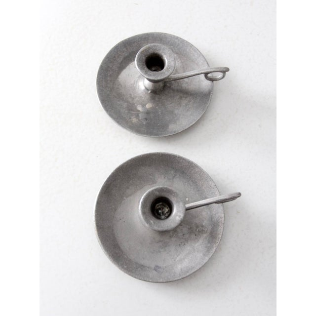 Metal Vintage Carson Pewter Style Candlestick Holders - a Pair For Sale - Image 7 of 9