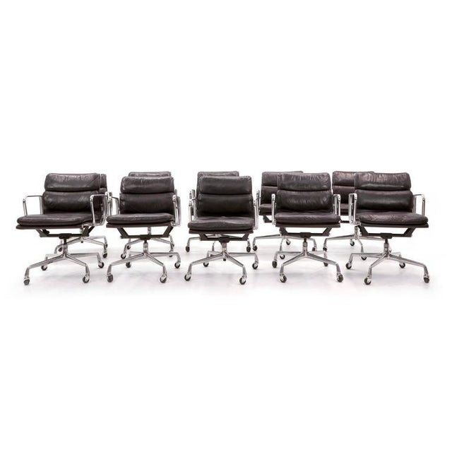 Eames for Herman Miller Leather Soft Pad Aluminum Group Armchairs buy any number - Image 2 of 10